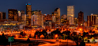 Downtown Denver skyline at dusk. Image taken from Diamond Hill looking toward the east.