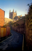 Road along the town wall to the cathedral in Hereford.