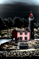A dark and ominous looking treatment applied to the Fisgard Lighthouse in Victoria, BC