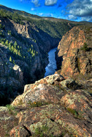 The north rim near the east end of the Black Canyon of the Gunnison shortly after sunrise.