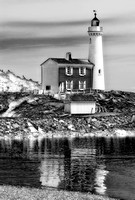 Reflections of Fisgard Lighthouse in the morning. Several treatments have been applied to give a different look to the original color image.